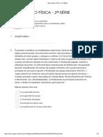 Avaliação Diagnose Educação Física 2 serie