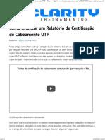Como Analisar um Relatório de Certificação de Cabeamento UTP - Clarity Treinamentos