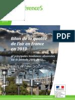 Ref - Bilan de La Qualite de l Air en France en 2013