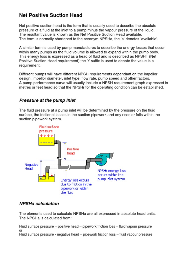 Net Positive Suction Head or NPSH | Pressure | Hydraulics