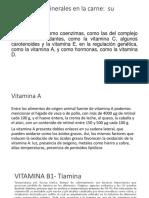 Vitaminas y minerales en la carne