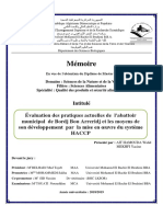 Évaluation Des Pratiques Actuelles de l'Abattoir Municipal de XXX Et Les Moyens de Son Developpement Par La Mise en Oeuvre Du Systeme HACCP