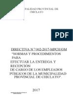 168834_DIRECTIVA N.002-2017-MPCH-GM - NORMAS Y PROCEDIMIENTOS PARA EFECTUAR LA ENTREGA Y RECEPCION DE CARGO DE EMPLEADOS PUBLICOS MPCH