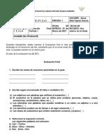 Evaluación Final ESPAÑOL 3°1, 2 Y 3 ALICIA ESTER TAPIAS