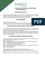 Edital Nº001- PROCESSO SELETIVO PARA CONTRATAÇÃO