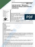NBR 13781 - 2001 - Posto de servico - Manuseio e instalacao de tanque subterraneo de combustiveis