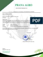 Surat Panggilan Kerja PT. PRANA AGRO