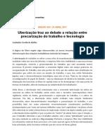 Uberização precarização e tecnologia