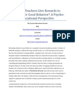 Should Teachers Give Rewards to Students for Good Behavior? A Psycho-Educational Perspective