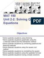 2-2 Solving Quadratic Equations Guided Notes