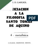 GARDEIL H. D., Iniciación a La Filosofía de Tomás de Aquino IV - Metafísica, Tradición, México 1974