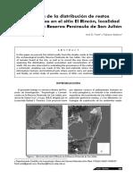 2009 Frank y Skarbun - Análisis de la distribución de restos arqueológicos en el sitio El Rincón , localidad arqueológica Reserva Península de San Julián