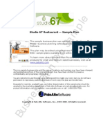 Studio67 Organic Restaurant Business Plan