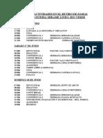 HORARIO DE ACTIVIDADES EN EL RETIRO DE DAMAS 2015 EN LA HOSTERIA MIRAME LINDO