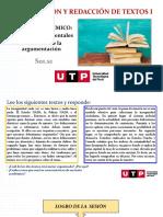 S01.s1 - El Texto Académico- Nociones Fundamentales, Elementos de La Argumentación- VERANO 2021