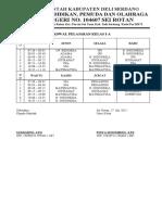 Jadwal Pelajaran Kelas I-A