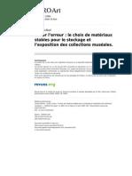 Goffard, C. Le choix de matériaux stables pour stockage et exposition. 2009