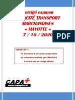 Corrige Marchandises Mayotte 2020 Capaplus