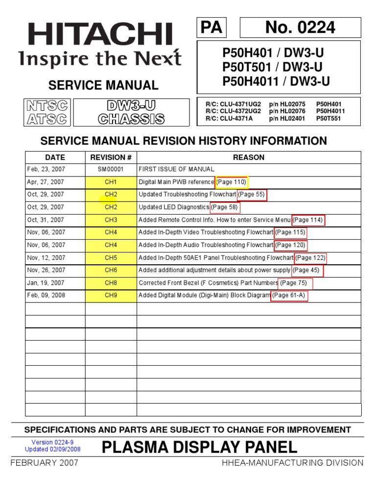 hitachi p50h401 service manual printed circuit board rh es scribd com
