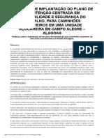 Proposta de Implantação Do Plano de Manutenção Centrada Em Confiabilidade e Segurança Do Trabalho, Para Caminhões Canavieiros Em Uma Unidade Açucareira Em Campo Alegre – Alagoas