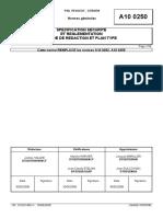 A10 0250 (rev. K; 2008.05) FR - SPECIFICATION SECURITE ET REGLEMENTATION GUIDE DE REDACTION ET PLAN TYPE