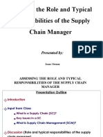 Role and Typical Responsibilities of the SC Manager