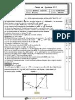 Devoir de Synthèse N°2 - Sciences physiques - 2ème Sciences (2019-2020) Mr Slimi Ridha