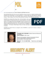 Interpol Orange Notice on Libya Leader Muammar Qadhafi and his Family and Associates - Travel Ban and Assets Freeze -