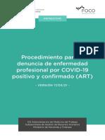 Procedimiento para la denuncia de enfermedad profesional por COVID-19 positivo y confirmado (ART) (2)
