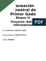 Planeación de 1er Grado - Bloque 3 - Proyecto 1