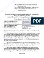 LETTER TO COURT OF APPEALS OF VIRGINIA IN THE CITY OF RICHMOND AND CLERK OF THE CIRCUIT COURT OF MARTINSVILLE - March 19, 2021