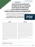Análise Do Potencial de Aproveitamento Energético de Biogás de Aterro e Simulação de Emissões de Gases Do Efeito Estufa Em Diferentes Cenários de Gestão de Resíduos Sólidos Urbanos Em Varginha (MG)