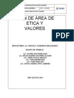 Plan de Area Etica y Valores Isla 2021