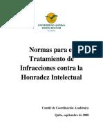 NORMAS PARA EL TRATAMIENTO DE INFRACCIONES CONTRA LA HONRADEZ INTELECTUAL