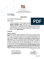 MODELO DE ADMISION DE  HABEAS CORPUS 3707-2020 - ADMITIR