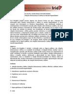 Ementa da Disciplina Literatura, Relações Internacionais & Defesa no Mundo Hispanonofalante