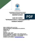 GC Introd al Pens de H. Arendt LAR 1° 2019