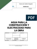 JO-P-OC-003 Agua para la construcción y electricidad para la obra