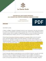 Francisco Al Seminario Lombardo Subrayado