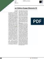 L'amore per Urbino di Papa Clemente XI - Il Resto del Carlino del 28 marzo 2021