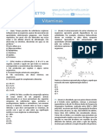 lista de questões sobre vitaminas