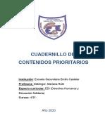Cuadernillo contenidos prioritarios  4B Edi DD HH