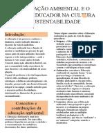 RESUMO - A EDUCAÇÃO AMBIENTAL E O PAPEL DO EDUCADOR NA CULTURA DA SUSTENTABILIDADE