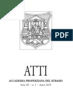 Accademia Properziana Del Subasio Serie