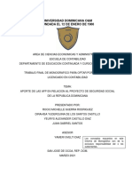 Aporte de Las Afp en Relacion Al Proyecto de Seguridad Social de La Republica Dominicana