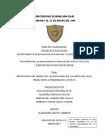 Importancia Del Manejo de Las Emociones en Los Niños Del Nivel Inicial Ante La Pandemia Del Covid-19