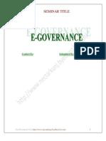 Seminar Report On E Governance