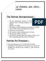 Features of Pentium and Above       Microprocessors