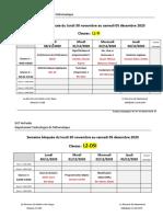 Planning des épreuves - Semaine Bloquée du 30-11-2020
