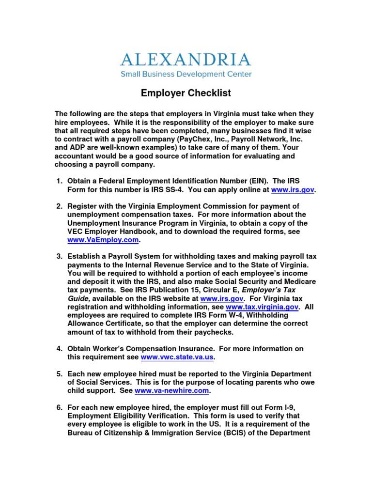 Employer Checklist | Payroll | Internal Revenue Service